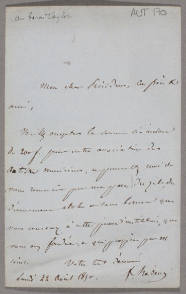 Lettre signée de Jacques-Fromental Halévy au baron Isidore