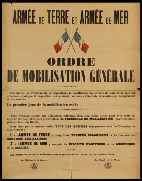ARMEE DE TERRE ET ARMEE DE MER/ ORDRE/ DE MOBILISATION