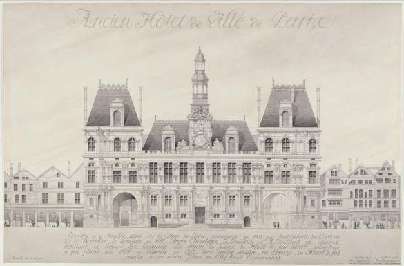 Ancien Hôtel de Ville de Paris. Elévation de la façade située sur la place  de Grève, commencée en 1533 par Dominique de Cortone dit le Boccador, et  terminé en 1628. Pierre Chambiges,