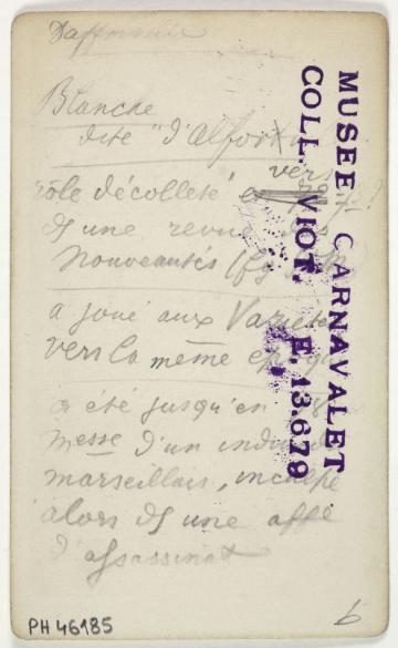 Portrait De Blanche DAlfortville Comedienne Carte Visite Verso Tirage Sur Papier Albumine 1870 1890 Paris Musee Carnavalet