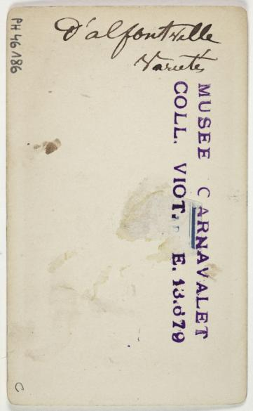 Portrait De Blanche DAlfortville Comdienne Carte Visite Verso Tirage Sur Papier Albumin 1870 1890 Paris Muse Carnavalet
