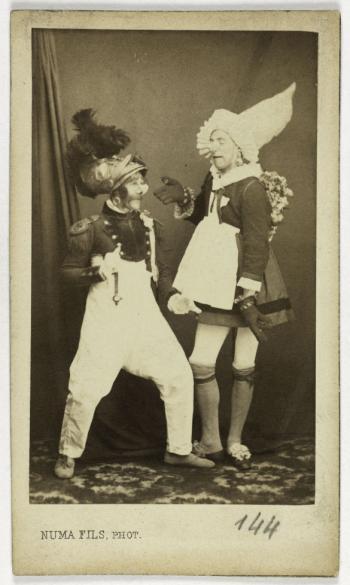 Portrait De Flageolet Et La Comte Danseurs Comiques Du Quadrille Des Clodoches Photographie Numa Fils 1866 1880 Carte Visite Recto