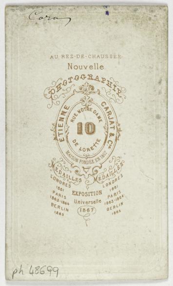Portrait De Cora Actrice Carte Visite Verso Photographie Carjat CiePhotographie Cie Tirage Sur Papier Albumine 1870 1890