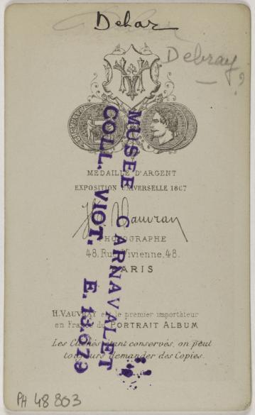 Carte De Visite Verso Photographie Hippolyte Vauvray Actif Entre 1853 Et 1887 Tirage Sur Papier Albumin 1860 1890 Paris Muse Carnavalet