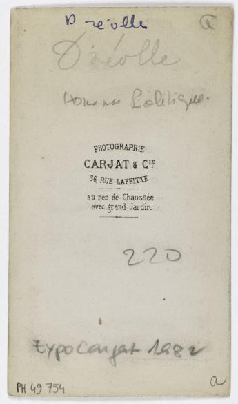 Portrait DErnest Drolle 1829 1887 Journaliste Pour La Patrie Homme Politique Carte De Visite Verso Photographie Carjat Cie