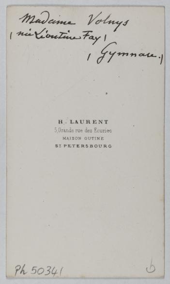 Laurent H Portrait De Leontine Fay Epouse Du Comedien Joly Charles Connu Sous Le Nom Volnys Actrice Carte Visite Verso