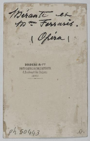 Portrait DAmalia Ferraris Nee En 1830 Danseuse Et Le Danseur Merante Carte De Visite Verso Tirage Sur Papier Albumine 1870 1890