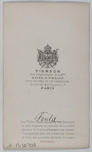 Portrait DAchille Foulde 1800 1867 Financier Homme DEtat Photographie De Louis Ou Pierre Pierson Carte Visite Verso