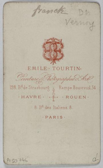 Portrait De Franck Duvernoy Actrice A LOpera Comique Photographie DEmile Tourtin Carte Visite Verso Tirage Sur Papier Albumine 1860 1890