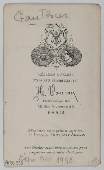 Portrait De Gauthier Photographie DHippolyte Vauvray Carte Visite Verso Tirage Sur Papier Albumin 1860 1890 Paris Muse Carnavalet