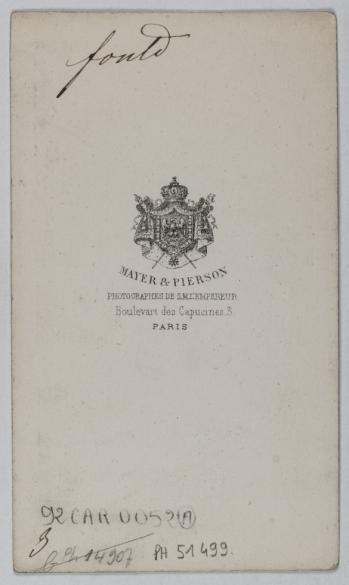 Portrait DAchille Foulde 1800 1867 Financier Homme DEtat Carte De Visite Verso Tirage Sur Papier Albumin Avant Paris Muse Carnavalet