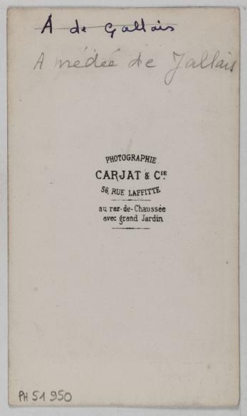 Portrait DAmedee De Jallais Auteur Dramatique 1860 1890 Carte Visite Verso Photographie Carjat Cie Paris Musee Carnavalet