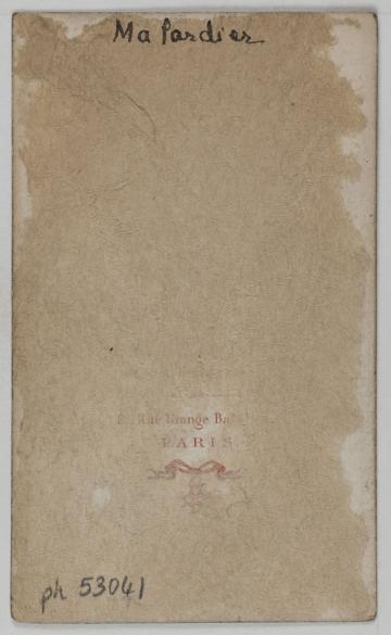 Portrait De Malardier Journaliste Carte Visite Verso Photographie DEmile Robert Tirage Sur Papier Albumin 1860 1890 Paris Muse Carnavalet