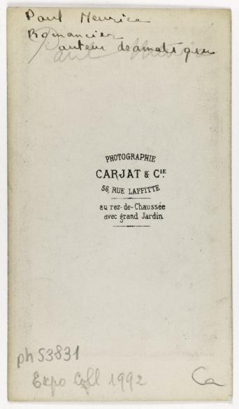 Portrait De Paul Meurice 1820 1905 Journaliste Et Auteur Dramatique Carte Visite Verso Tirage Sur Papier Albumin 1860 1890