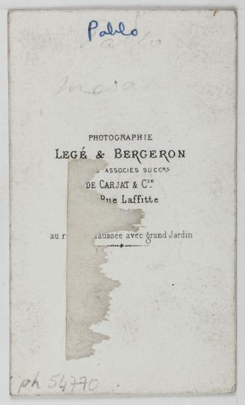 Lege Bergeron Portrait De Pablo Torero Espagnol Carte Visite Verso Tirage Sur Papier Albumine 1860 1890 Paris Musee Carnavalet