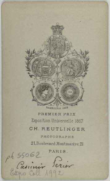 Portrait De Auguste Casimir Perier 1811 1876 Homme Politique Carte Visite Verso Photographie Charles Reutlinger 1816 1880