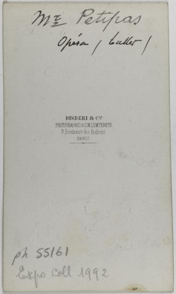 Portait De Petipa Danseur Carte Visite Verso Photographie Disderi Cie Tirage Sur Papier Albumine 1860 1890 Paris Musee Carnavalet