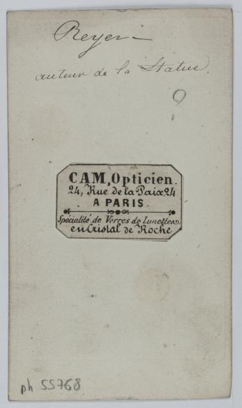 Portrait De Reyer Auteur La Statue Carte Visite Verso Photographie Anonyme Tirage Sur Papier Albumine 1860 1890 Paris Musee Carnavalet