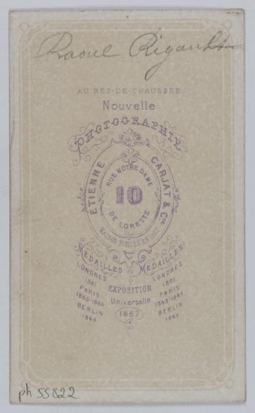 Portrait De Raoul Rigault 1846 1871 Procureur Et Membre La Commune En Carte Visite Verso Photographie Carjat Cie