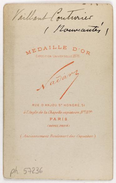 Portrait De Vaillant Couturier Actrice Carte Visite Verso Photographie LAtelier Nadar Tirage Sur Papier Albumine 1860 1890