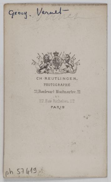 Portrait De Georgette Vernet Danseuse Et Violoniste Photographe Charles Reutlinger 1816 1880 Carte Visite Verso Tirage Sur Papier Albumin