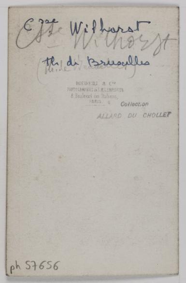 Portrait De Cora Wilhorst Actrice Au Theatre Bruxelles Et Des Italiens Tirage Sur Papier Albumine 1860 1890 Carte Visite Verso