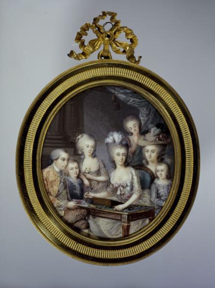 portrait de wilhelmine de prusse princesse d 39 orange nassau en miniaturiste entour e de sa. Black Bedroom Furniture Sets. Home Design Ideas