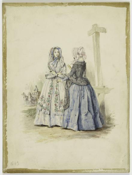 Figure En Robe Blanche A Motifs De Chardons Figure Vue De Trois