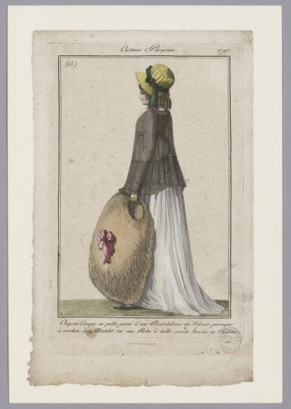 Costume Parisien / Chapeau casque en paille garni d'une Bourdaloue en  velours, perruque à crochets, long mantelet sur une robe à taille courte,  boucles en paillettes | Paris Musées