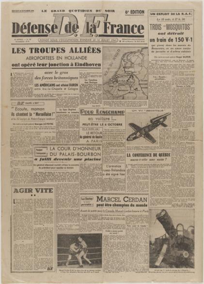 journal d fense de la france du 20 septembre 1944 paris mus es. Black Bedroom Furniture Sets. Home Design Ideas