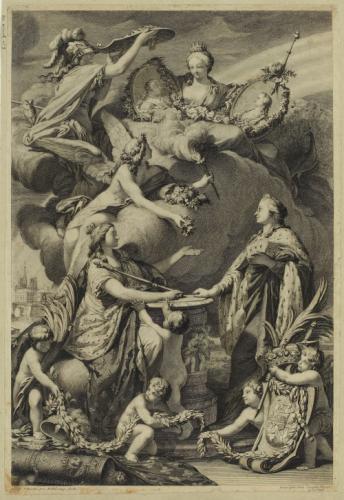 """Résultat de recherche d'images pour """"Allégorie du mariage du Dauphin et de la princesse Marie-Josèphe de Saxe"""""""