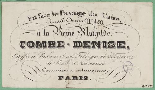 Carte De Visite Du Magasin A La Reine Mathilde
