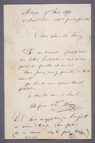 Lettre Dedmond Mégy à Louis Et Fanny Son Frère Et Sa Sœur