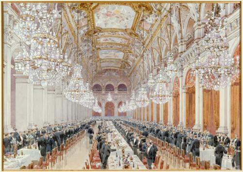 Banquet des officiers de la marine Russe, dans la salle des fêtes à ... cdf60e923c7