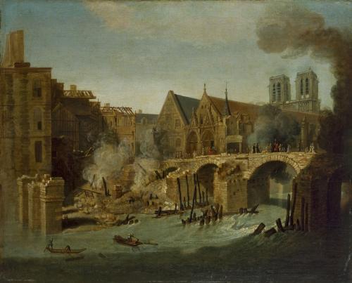 Le Petit Pont Apres L Incendie De 1718 Paris Musees