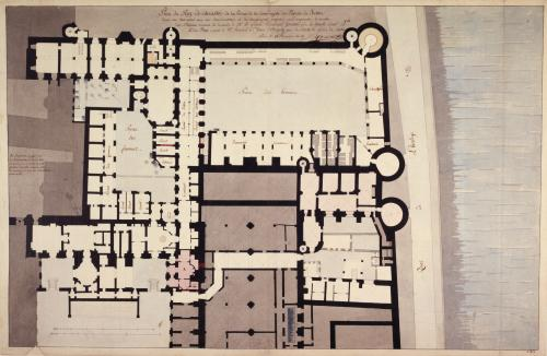 Plan du Rez-de-chaussée de la Prison de la Conciergerie du Palais de  Justice dans son Etat actuel avec des Amélioratoins et des changemens  proposés pour augmenter le nombre des Détenus suivant la