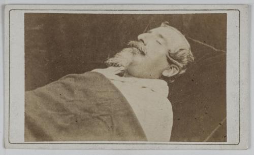 Portrait de Charles Louis Napoléon Bonaparte (1808-1873), dit Napoléon III,  Empereur des Français, sur son lit de mort.   Paris Musées