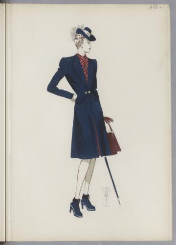 Manteau bleu marine, écharpe en écossais rouge, modèle 421, Eté 1941 ... cef8bbda0ef