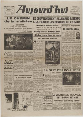 journal aujourd 39 hui du 15 d cembre 1940 paris mus es. Black Bedroom Furniture Sets. Home Design Ideas