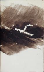 """""""Les Travailleurs de la Mer, Bruxelles, A. Lacroix et Verboeckhoven, 1866 - Tome 1, numéro 46, dessin La Durande par Victor Hugo"""""""